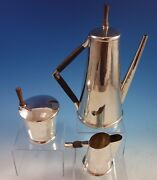 Sanborns Mexican Mexico Sterling Silver Coffee Set 3pc W/ Rosewood 7015 1972
