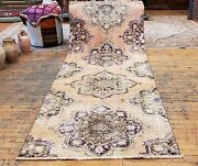 Primitive Antique 1930-1940s Wool Pilevegy Dye Oushak Runner Rug 3and039andtimes 9and0392and039and039