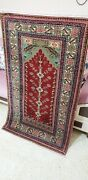 Exquisite Antique 1940-1950and039s Wool Pile Natural Dye Bunyan Prayer Rug 2and0398andtimes4and0397