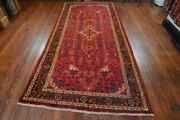 Vintage Persian Hamadan Design Rug 5and039x11and039 Red/black All Wool Pile