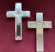 10 Oz Yps Cross 999+ Fine Silver Bullion Bar Yeager's Poured Silver