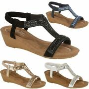 Ladies New Wedge Sandals Womens Fancy Party Dress Beach Summer Holiday Shoes 3-8
