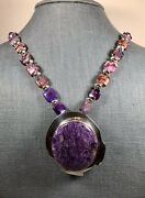 Captivating Aaron Brokeshoulder Charoite Pendant With Matching Beaded Necklace.