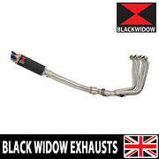 Yzf R1 98 - 01 Full Exhaust System + Gp Round Carbon And Blue Tip Muffler Cl23r