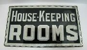 Antique House-keeping Rooms Chip Glass Scalloped Edge Foil Mirror Servents Sign