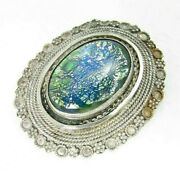 Vintage Mexico Sterling Silver Foil Art Glass Brooch Pin / Necklace Pendant