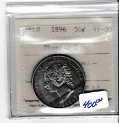 Canada 1896 Nfld 50 Cent Silver Iccs Vf-30