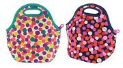 Built Ny Gourmet Getaway Lunch Tote Insulated 2 Pack Dot Fuchsia Dot Candy Navy