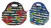 Built Ny Gourmet Getaway Lunch Tote Insulated 2 Pack Floral Stripe Black Blue