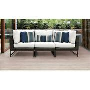 Barcelona 3 Piece Wicker Patio Furniture Set 03c In Brown And White