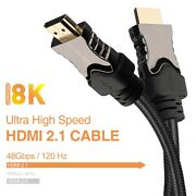 Authentic 2.1 Hdmi Cable, Lot 6ft Uhd 3d Hdr Hdcp2.2 For New Samsung 8k Qled Tv