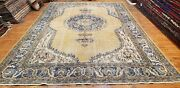 Primitive Antique 1930-1940and039s Muted Natural Dye Turkish Oushak Rug 7and0394x10and0398