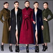 7 Colours Womens Ol Double Breasted Cashmere Coat Full Length Jacket Parka O455