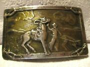 Vintage Cowboy Roping A Steer And Spurs In Corners Old Style Back Belt Buckle