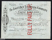Share Scrip - Mining. 1888 The Lions Den Tin Mining Co - Cooktown Nth Qld