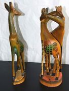 Lot 2 Giraffe Statues Africa Wood Hand Carved And Painted 14 And 12 Hugging Stand