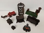 Lot Of 8 Vintage Cast Iron Toys And Misc. Items