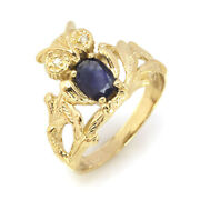 0.6 Ctw Natural Blue Sapphire And Diamond Solid 14k Yellow Gold Vintage Owl Ring