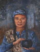 L Cahill Pottery Girl Portrait Acrylic Painting Native American Indian Clay Pot