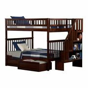 Leo And Lacey Full Over Full Staircase Storage Bunk Bed