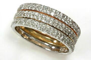 1 Ctw Natural Diamond Solid 14k Tri-color Gold Set Of 3 Stackable Band Rings