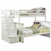 Leo And Lacey Twin Over Full Staircase Bunk Bed In White