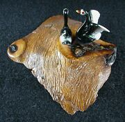 Vintage Two - Duck Figurine On A Madrone Wood Base - Made In Oregon Paperweight
