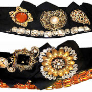 Dolce And Gabbana Crystal Brooches Flowers Decorated High Waist Belt
