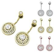 Removable Jackets Dangle Earrings Studs I1 G 3.00 Ct Round Diamond 14k Rose Gold