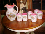 L G Wright Satin Mother Of Pearl Water Pitcher And Set Of 6 Tumblers W Cherubs