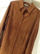 New Suede Size 14 - Xl Coldwater Creek Lush Brown Suede Leather Jacket Coat