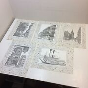 Vtg‼ Lot Of 5‼ George Luttrell Poster Print 12 X 16 New Orleans French Quarter