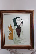 Kevin Mcalpinand039s Portrait Of A Lady Flapper Girl Oil Painting Wooden Frame Canvas