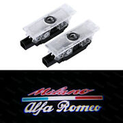 2x Wireless No-drilling Led Car Welcome Logo Door Shadow Light For Alfa Romeo