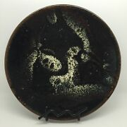 Collectible Dark Japanese Mashiko Art Pottery 10 Plate W/ Old Letter Rf-fr4