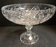 Vintage Large Cic Hand Cut Lead Etched Crystal Pedestal Compote 7.5 X 9.5 Exc