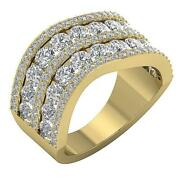 Anniversary Ring Natural Round Diamond I1 G 4.30 Ct Prong Channel Set 14k Gold