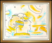 Peter Max Color Lithograph Hand Signed From Another Planet Cosmic Vintage Art
