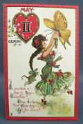Antique Tuck Postcard Valentines Day Gemini Zodiac May Girl Butterfly