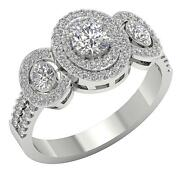 Double Halo Solitaire Wedding Ring Vs1 E 1.40 Ct Round Diamond 14k Solid Gold