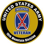 United States Veteran Army 10th Mountain Division Aluminum Sign 11.75 Round