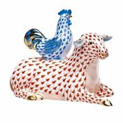 Herend, Resting Sheep With Rooster Figurine, Rust W/blue Fishnet, Flawless, 645