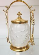 Antique And Vintage Glass Pickle Jar With Sterling Silver Plated Holder