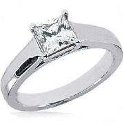 0.90 Ct Radiant Cut Diamond Engagement Wedding Solitaire Ring G Color Si1