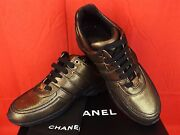 16k Nib Golden Brown Black Fabric Leather Cc Logo Lace Up Sneakers 40.5