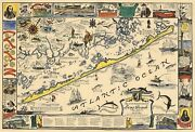Mid-century Historical Map Romantic Island Of Long Beach New Jersey Wall Poster