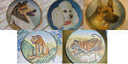 Tiziano Veneto Flair Plate Etched Italy Collie, Poodle, German Shepperd, Tiger