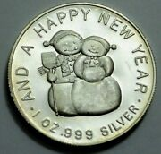 1 Oz.999 Silver Round Merry Christmas And Happy New Year Santa Claus And Snowman