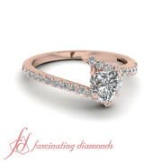 .65 Ct 14k Rose Gold Heart Shaped Diamond Ring With Pave Set Round Cuts Vvs1 Gia