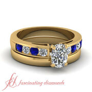 1 Ct Cushion Cut And Round Diamond Channel Set Blue Sapphire Bridal Ring Set Gia